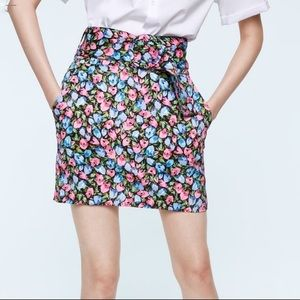 Zara Limited Edition Belted Floral Mini Skirt M